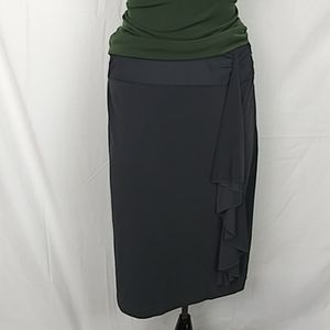 GRACE gray waterfall detail midi slinky skirt L
